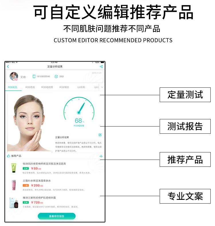 智能面部拍照仪针对不同的肌肤问题可自定义推荐不同的产品