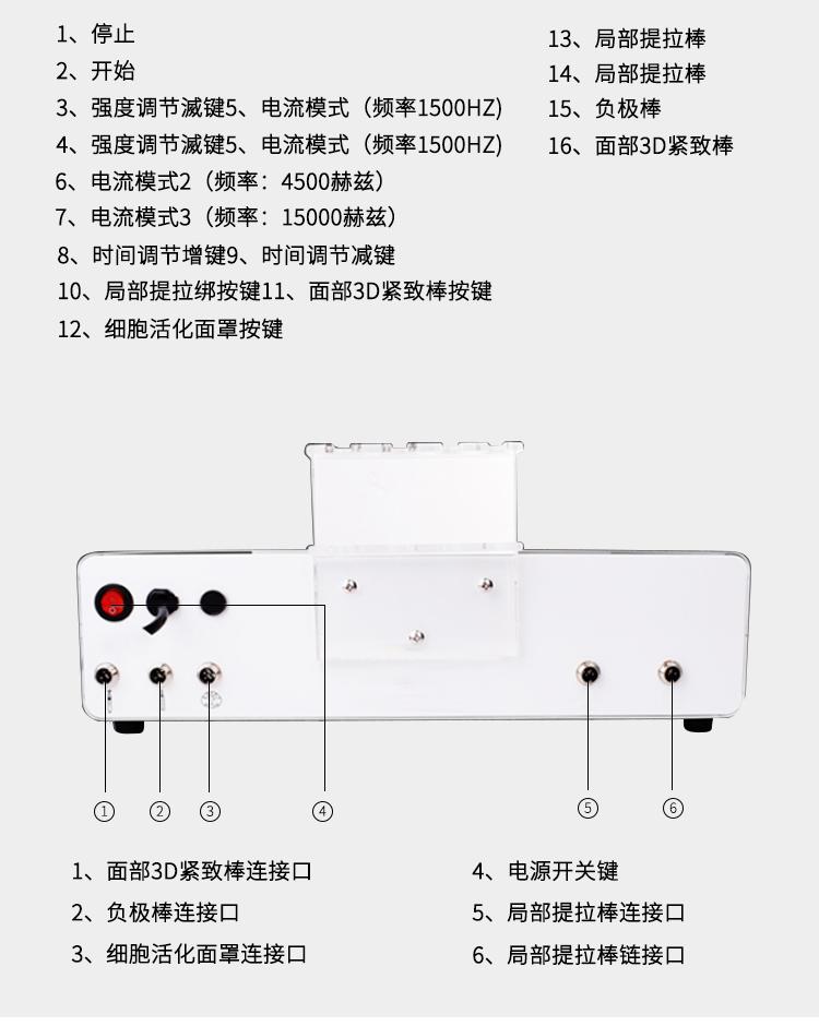 细胞活化仪按键及接口介绍